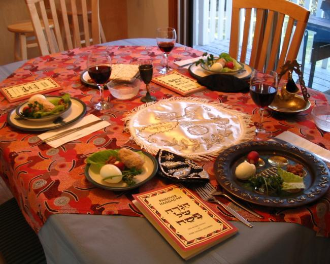 Passover seder table setting